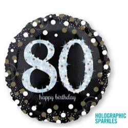 Sparkling Birthday 80 Holographic Sparkles 45cm