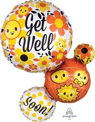 Get Well Bubble Emoticons (Emoji) SuperShape 55cm x 71cm