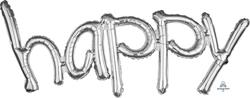 "Freestyle Phrase ""happy"" Silver 104cm x 50cm"
