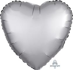 Heart Satin Luxe Platinum Anagram packaged 45cm