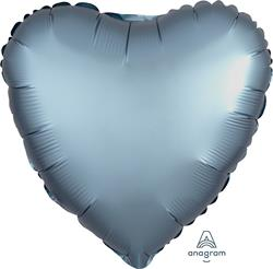 Heart Satin Luxe Steel Blue Anagram packaged 45cm