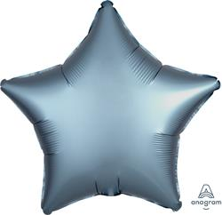 Star Satin Luxe Steel Blue Anagram packaged 45cm