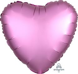 Heart Satin Luxe Flamingo Anagram packaged 45cm