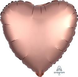 Heart Satin Luxe Rose Copper Anagram packaged 45cm