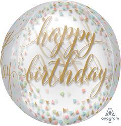 ORBZ Pastel Confetti Clear Happy Birthday 43cm x 45cm