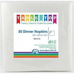 Alpen Dinner Napkins White 2 ply