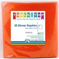Alpen Dinner Napkins Orange 2 ply