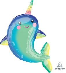 Happy Narwhal Foil Balloon Shape 39cm x 99cm New