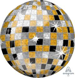 Orbz Gold Silver & Black Disco Ball  43cm x 45cm