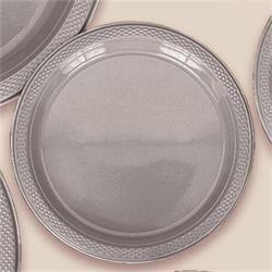 Plate Plastic 17.7cm Silver