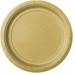 Plate Plastic 17.7cm Gold Sparkle