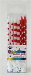 Candle Dots and Stripes Red