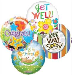 10cm printed Inflated Get Well Assorted