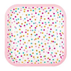 Pop Plates 23cm Pink Turqoise and Gold Dots