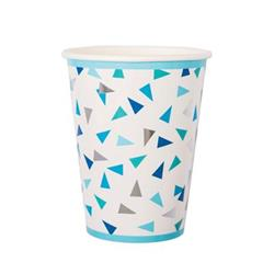 Pop Cup 9oz Blue and Silver Triangle