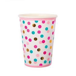 Pop Cup 9oz Pink Turqoise and Gold Dots