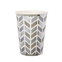Pop Cup 9oz Silver Geometric