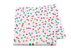 Pop Napkin 3ply Pink Turqoise and Gold Dots