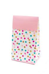 Pop Treat Bag Pink Turqoise and Gold Dots