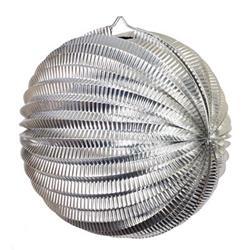 FS Accordian Lantern Metallic Silver 35cm