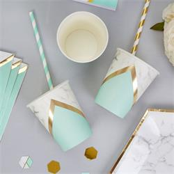 Colour Block Marble Paper Cup - Mint