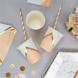 Colour Block Marble Paper Cup - Peach