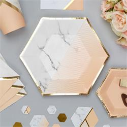 Colour Block Marble Paper Plate - Medium - Peach