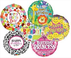 23cm Printed Foils Inflated Assorted Birthday designs