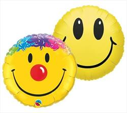 23cm Printed Foils Inflated Assorted Smile Designs
