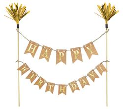 Birthday Cake Topper Gold Wood w Paper & Foil 23.4 x 27.3cm