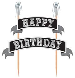 Birthday Cake Topper Black Wood w Paper & Foil 21 x 22.8cm