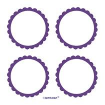 Scalloped Labels New Purple 5cm