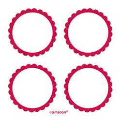 Scalloped Labels Apple Red 5cm
