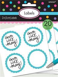 Scalloped Labels Caribbean Blue 5cm