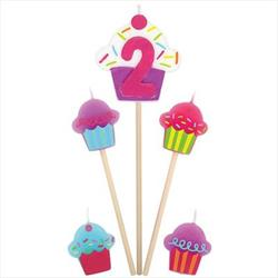 Cupcake Birthday pick Candles Age 2