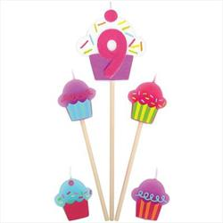 Cupcake Birthday pick Candles Age 9