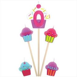Cupcake Birthday pick Candles Age 0