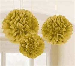 Fluffy Paper Ball Decoration Gold