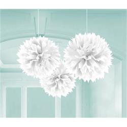 Fluffy Paper Ball Decoration 40.6cm White