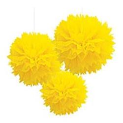 Fluffy Paper Ball Decoration 40.6cm Yellow
