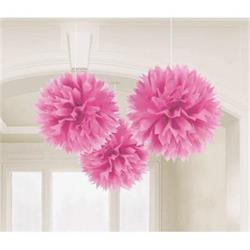 Fluffy Paper Ball Decoration 40.6cm Pink