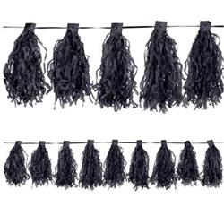Paper Tassel Garland Jet Black with 20 x 30cm tassels