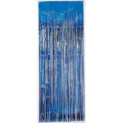 Metallic Door Curtain Blue