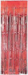 Metallic Door Curtain Red