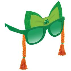 St Patricks Glasses with Jewel Shamrock and  Orange Braids