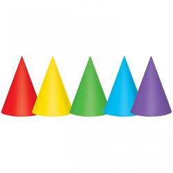 Party Hats Cone 17.75cm Paper Assorted Primary Colours