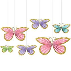 Butterfly Fan Decorations with Glitter Edge.-ideal for garland add on