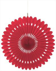 Hanging Fan Decoration 40.5cm Apple Red