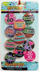 II Love the 80s Buttons