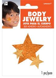 Glitter Jewelery Body Orange Stars.